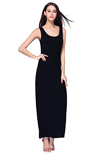 HIKA Women's Casual Sleeveless Tank Top Long Maxi Dress (XX-Large, Black)