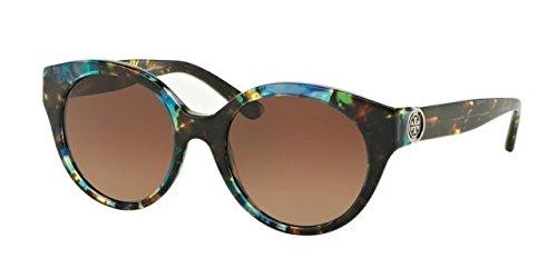 Tory Burch Women's 0TY7087 Blue Brown Tortoise/Brown Gradient Polarized - Sunglasses Burch Tory Blue