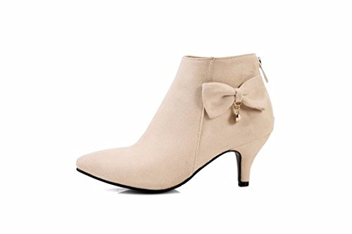 High heels boots SUEDE SHOES SIZE LADIES pointed in autumn and winter apricot F87FOvNY