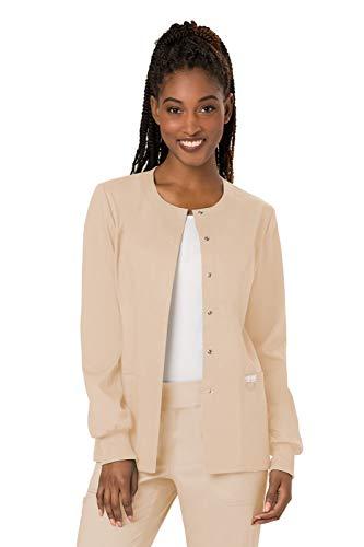 (Cherokee Women's Snap Front Warm-up Jacket, Khaki, Small )