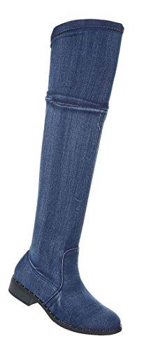 Scarpe Da Donna Con Stivaletti Overknee Usati Blu Optik