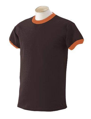 Gildan 6.1 oz. Ultra Cotton Ringer T-Shirt, Dark Chocolate/Texas Orange, Small
