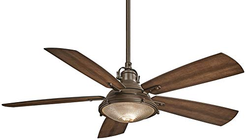 Minka-Aire F681-WA PW, Groton 56 Ceiling Fan in Weathered Aluminum and Pewter Finish with Dark Pine Blades
