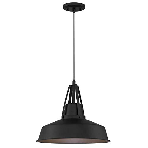 Westinghouse Lighting 6373300 Armstrong One-Light Dimmable LED Outdoor Pendant Light, Dark Sky Friendly, Matte Black Finish Hanging Porch Light Dark Sky Friendly Exterior Lighting
