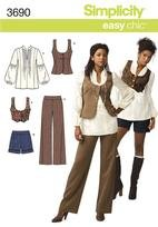SIMPLICITY PATTERN 3690 MISSES' TOP, VEST IN TWO LENGTHS AND PANTS OR SHORTS SIZE P5 12-20