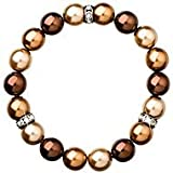 Pearl Bracelet with Swarovski Elements Crystals and Crystal Pearl Beads - Brown