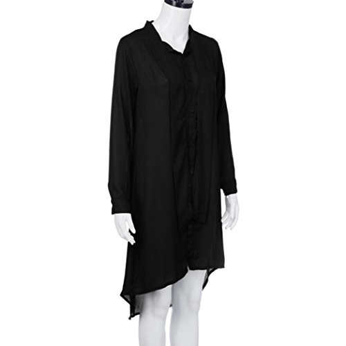 lunga casual abito Abito abito sciolto stile abiti in cravatta abito manica boho Nero Chiffon qzgZ6t