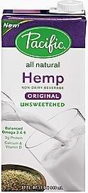 Pacifc Natural Foods Hemp Milk, Non-Dairy, Unsweetened Original 32 oz. (Pack of 12)