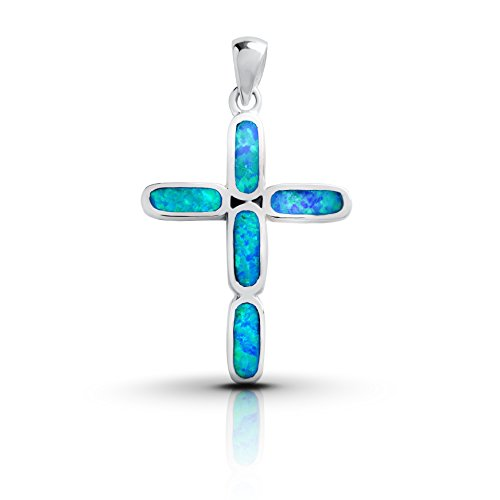 Sterling Silver Lab Created Blue Opal Cross Pendant Created Opal Cross Pendant