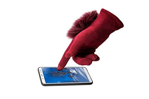 Touch Screen Winter Gloves With Fluffy Genuine Fox Fur Cuff Splicing Fleece Lining