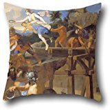 20 X 20 Inches / 50 By 50 Cm Oil Painting Le Brun, Charles - Horatius Cocles Defending The Bridge Pillow Covers,each Side Is Fit For Gf,home Theater,office,father,seat,teens ()
