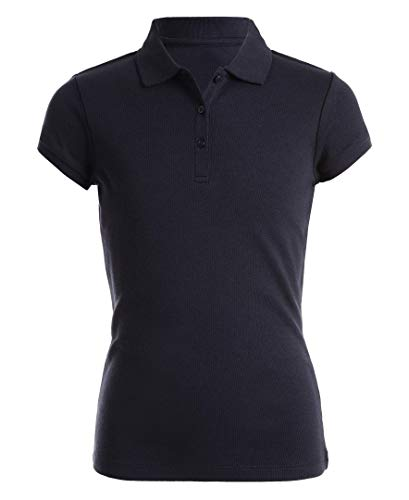 Nautica Girls' Toddler School Uniform Short Sleeve Pique Polo, Navy, 2T