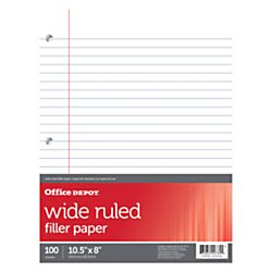 Office Depot(R) Brand Filler Paper, 8in. x 10 1/2in., 100 Count, Wide Ruled, 16-lb