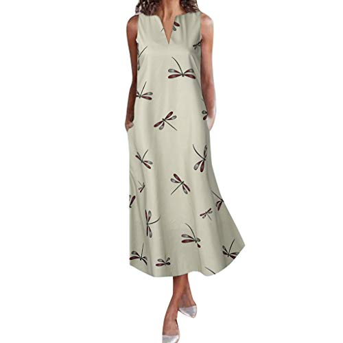 Women Vintage Linen Dresses Casual Loose Crew Neck Striped Sleeveless Long Dress with Pocket Clearance!