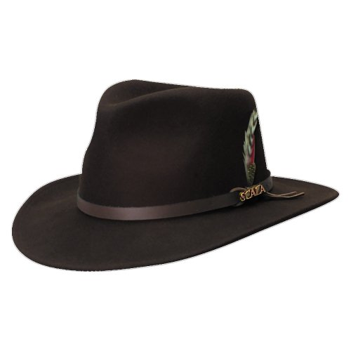 Wool Trilby Hat - Scala Classico Men's Crushable Felt Outback Hat, Chocolate, Medium