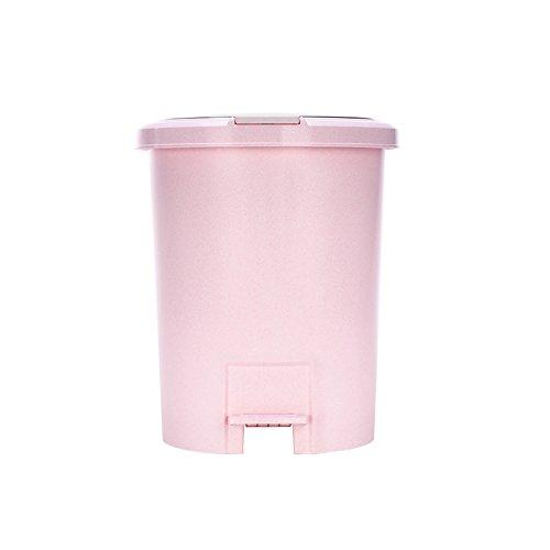 Plastikpedal-runder Haushalts-Abfalleimer, modernes kreatives großes, Wohnzimmer-Schlafzimmer-Küche-Toiletten-Büro-Clamshell-Papierkorb, 10L ( Farbe   Rosa )