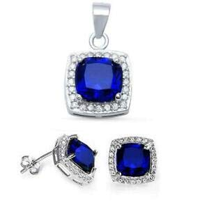 (Cushion Blue Sapphire & Cz 925 Sterling Silver Pendant & Earring Set - Jewelry Accessories Key Chain Bracelet Necklace Pendants)