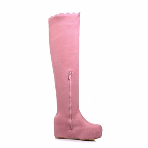 The slope with thick suede thigh boots lace high-heeled boots long canister bottom girl Pink QTDO1Kv