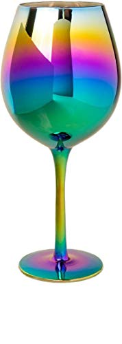 Circleware 76874 Rainbow Fusion Wine Glasses, Set of 4, Party Entertainment Dining Beverage Drinking Glassware Cups for Water, Liquor, Whiskey, Beer, Juice and Farmhouse Decor Gifts, 15.7 oz, Luster