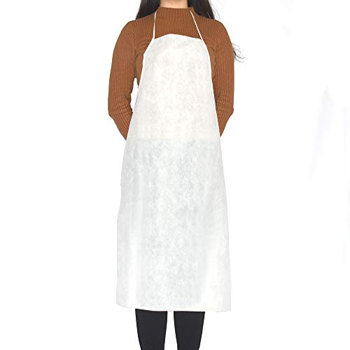 OKEKON Disposable Environmentally Friendly Non-woven Apron Fabric Latex Free/Keep Clothing Clean/Aprons Great for Restaurants, Lobster, Seafood or Crawfish Party,Picnic,Aprons Lightweight 10Pcs,White