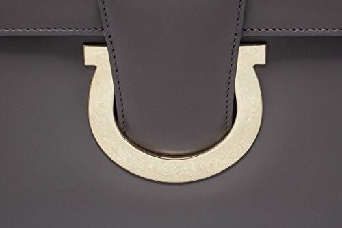Salvatore Ferragamo borsa donna a tracolla pelle borsello thalia grigio