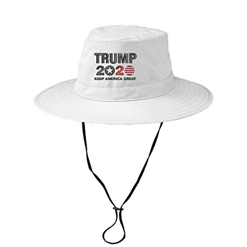 INK STITCH Trump 2020 Keep America Great UPF 30+ Bucket Hat with String - 3 Colors (White, S/M Size) ()