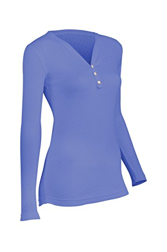 - Indera Women's Pointelle Henley Top, Periwinkle, Medium