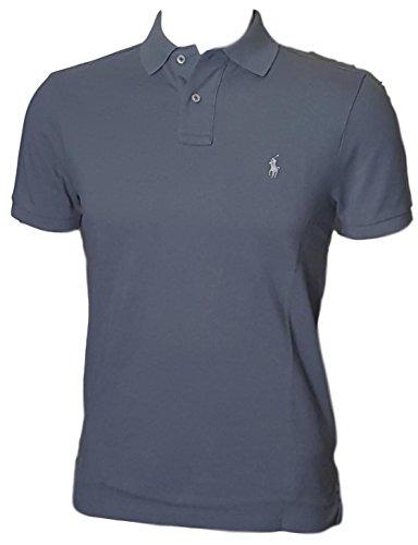 Polo Ralph Lauren Mens Custom Slim Fit Polo Shirt (XL, Solid Grey)