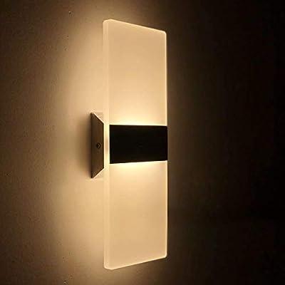 2 Pcs Lámpara de Pared LED 12W, Interior Apliques de Pared Moderna Acrílico, Iluminación Interior para Decoració para Dormitorio Salón y habitación, Blanco Cálido: Amazon.es: Iluminación