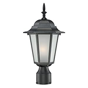 Acclaim 6117BK Camelot Collection 1 Light Post Mount Outdoor Light Fixture,  Matte Black
