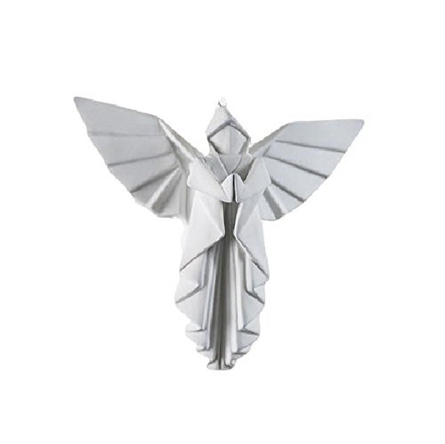 Porcelain Origami Style Angel Hanging Figurine or Ornament, White, 4 -
