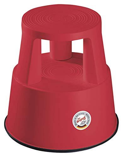 Wedo Step - Taburete con Ruedas (plastico, 44 cm), Color Rojo