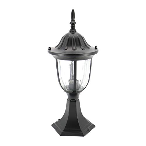 IN HOME 1-Light Outdoor Garden Post Lantern L03 Lighting Fixture, Traditional Post Lamp Patio with One E26 Base, Water-Proof, Black Cast Aluminum Housing, Clear Glass Panels, ETL Listed
