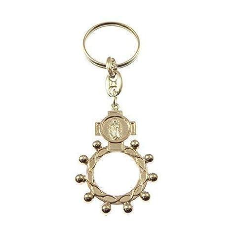 Plateado metal Católica rosario anillo Rosario llavero ...