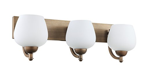 IN HOME 3-Light VANITY/BATHROOM FIXTURE VF29, Bronze Finish with Opal Glass Shade, UL listed Antique Nickel Vanity Light