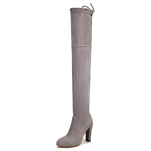 Knee The Nine Women's Round Up Grey Over Seven Suede Chunky Lace Boots Heel Leather Toe Handmade pp7OBw