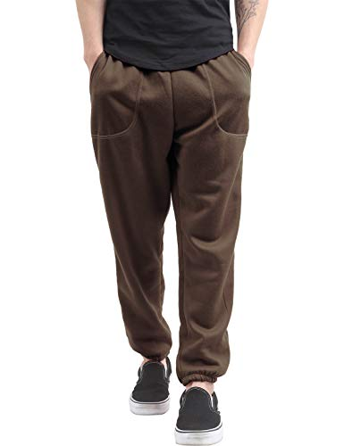 Hat and Beyond Mens Fleece Sweatpants Lightweight Elastic Jogger Loss Fit Drawstring Pants (1ih02_Brown,X-Large)