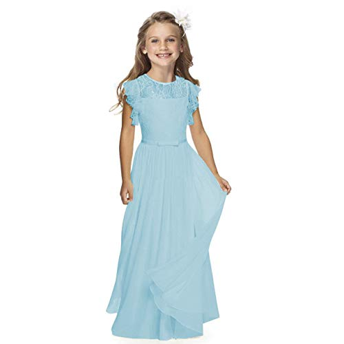 Sittingley Fancy Girls Holy Communion Dresses 1-12 Year Old (4, Blue) -