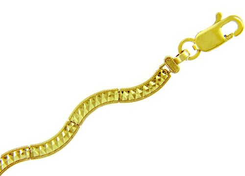 Petits Merveilles D'amour - 10 ct Or Jaune Bracelet - Signe de la paix Bracelet