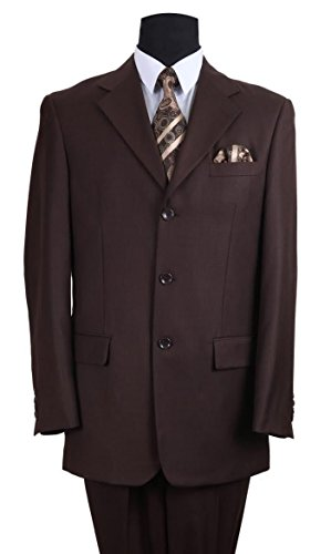 Fortino Landi Men's 3 Button Single Breasted Dress Suit 8022-Brown-42R