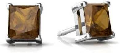 2 Ct Natural Smoky Quartz Princess Cut Stud Earrings .925 Sterling Silver Rhodium Finish