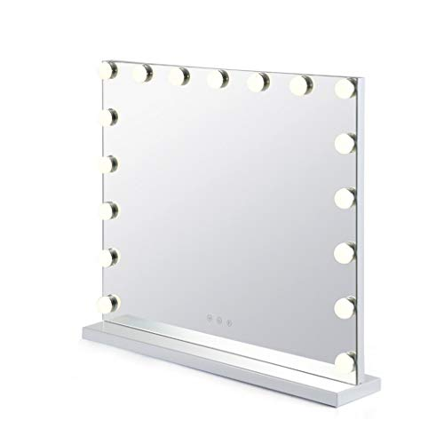 NJYT Table Mirror Makeup Mirror with Led Lights HD Touch Screen, Metal Frame Base European Style for Hair Salon Photo Studio (Size : 62x54cm)
