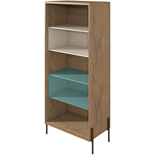 (Manhattan Comfort 350622 Joy Series Modern 5 Shelf Bookcase, Blue & Off White)