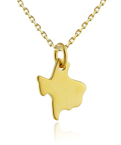 - 24k Gold Plated Sterling Silver Texas State Charm Pendant Necklace, 18 Inch Chain