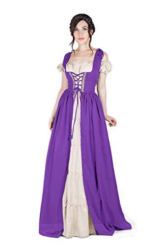 Boho Set Medieval Irish Costume Chemise and Over Dress (XXS/XS, Lilac)