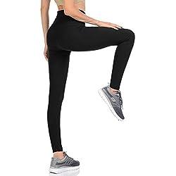 VIV Collection Regular Size Leggings Yoga Waistband Soft w/Hidden Pocket (Black)