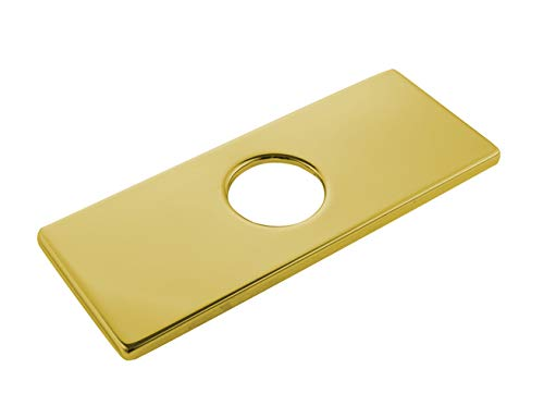 Stainless Steel Square 6 Inch Bathroom Sink Faucet Hole Cover Polished Gold Deck Plate ()