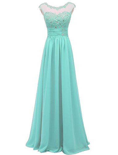 Pretygirl Women's Lace Long Prom Evening Dress Gown A Line Bridesmaid for Wedding (US 12, Tiffany Blue) - A-line Lace Evening Gown