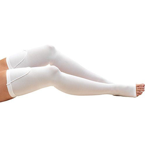 Truform 8810 Anti-Embolism Stockings, Thigh High Length, Closed Toe, 18 mmHg , White, X-Large (Hose Ted)