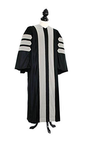 TIMELESS Men Deluxe Doctoral of Arts, Letters, Humanities Academic Gown for faculty and Ph.D. gold silk Custom Size Black by TIMELESS - bespoken